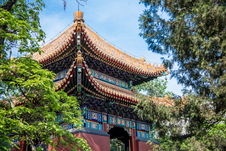 Building in Yonghegong Temple in Beijing, China