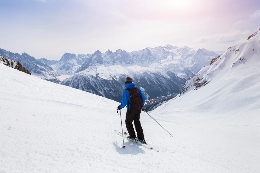 Skiing in Chamonix Valley, France