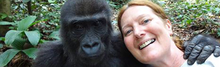 Sharon Tremaine with Gorilla in the wild