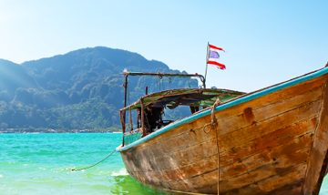 Long boat and tropical beach, Thailand