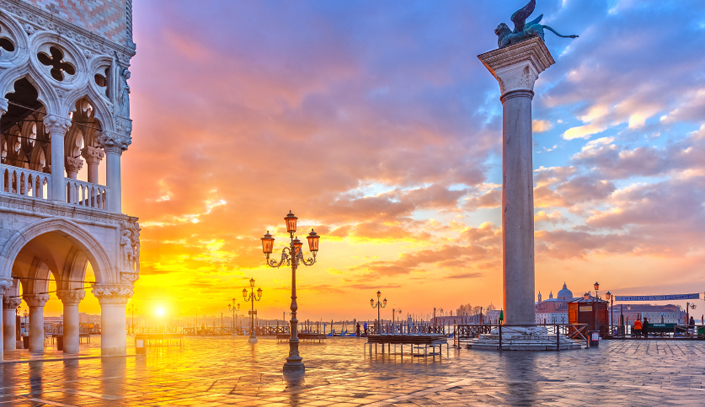 Beautiful sunset over the waters of Venice