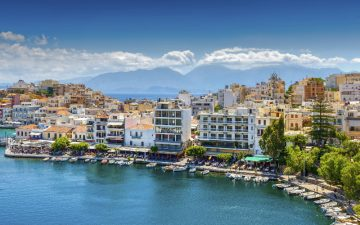 View of the Harbour Agios Nikolaos in Crete, Greece