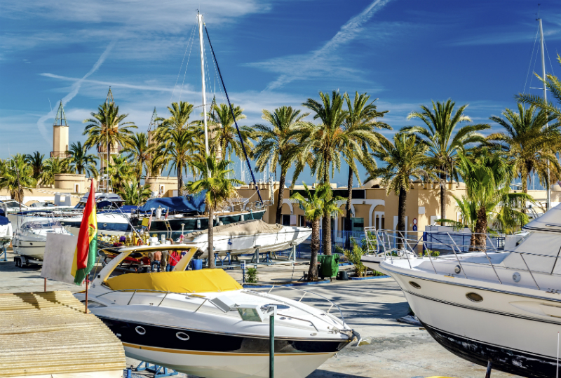 Boats moored in Fuengirola Seaport on a sunny day