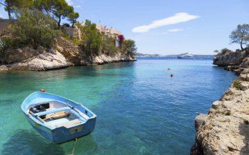 Boat moored in a bay, Majorca