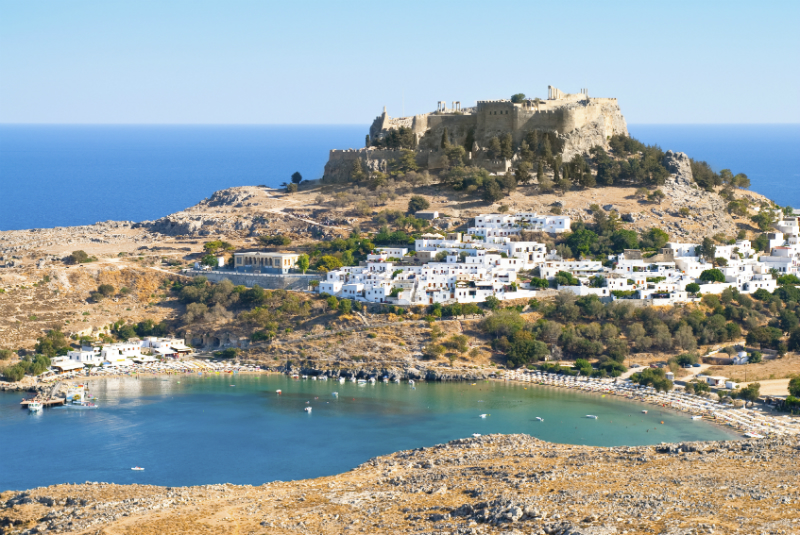 Ancient ruins in Greek town of Lindos