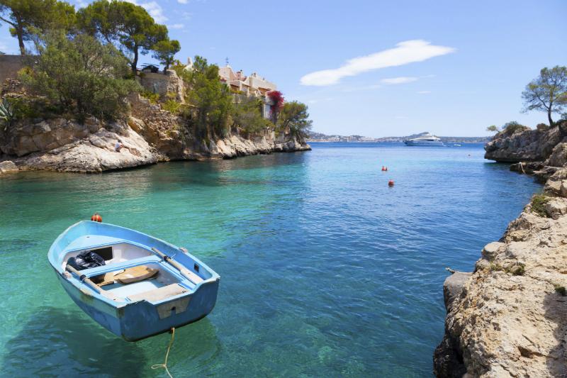 Boat Moored in bay in Majorca