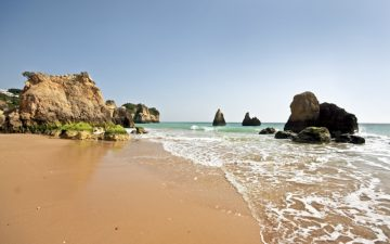 Rocks and beach in the Algarve, Portugal