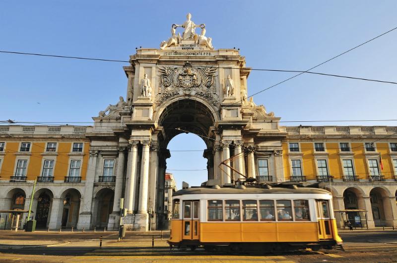 Tram in Commerce Square, Lisbon