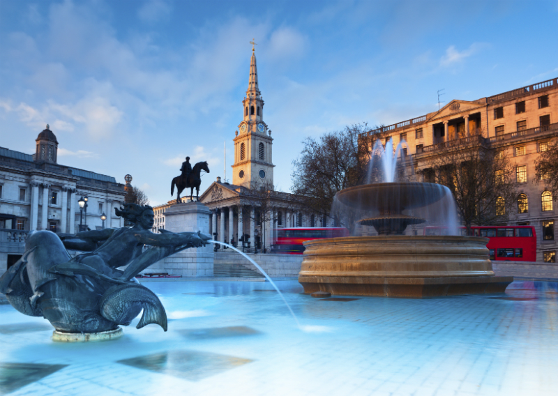 Fountain in Trafalgar Square, London