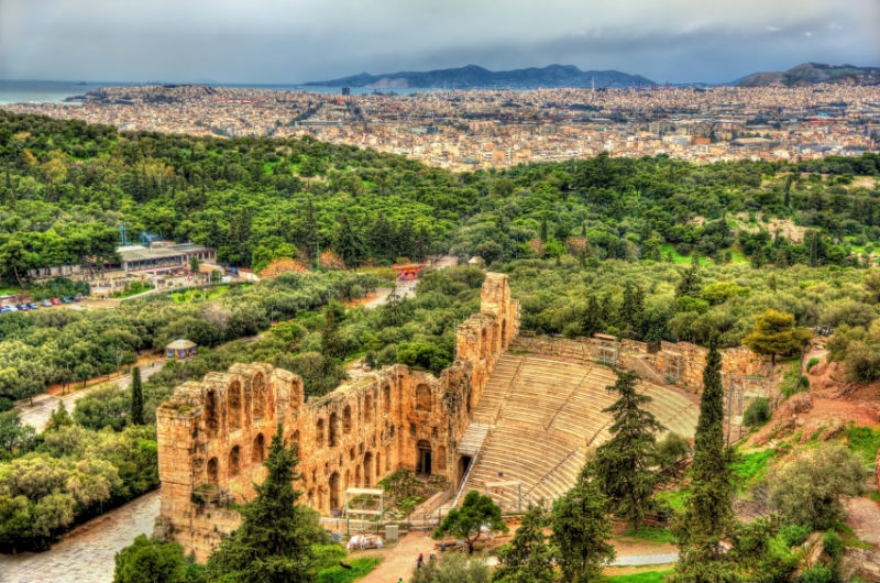 Odeon of Herodes Atticus an ancient theatre in Athens, Greece