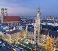 Night time skyline photo of Marienplatz in Munich, Germany