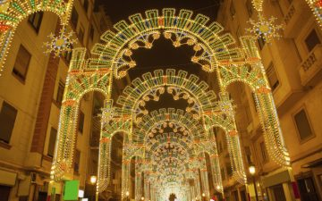 Lights at night in streets of Valencia
