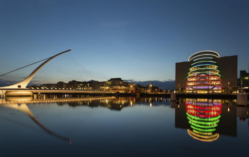 Samuel Beckett Bridge and convention sector Dublin