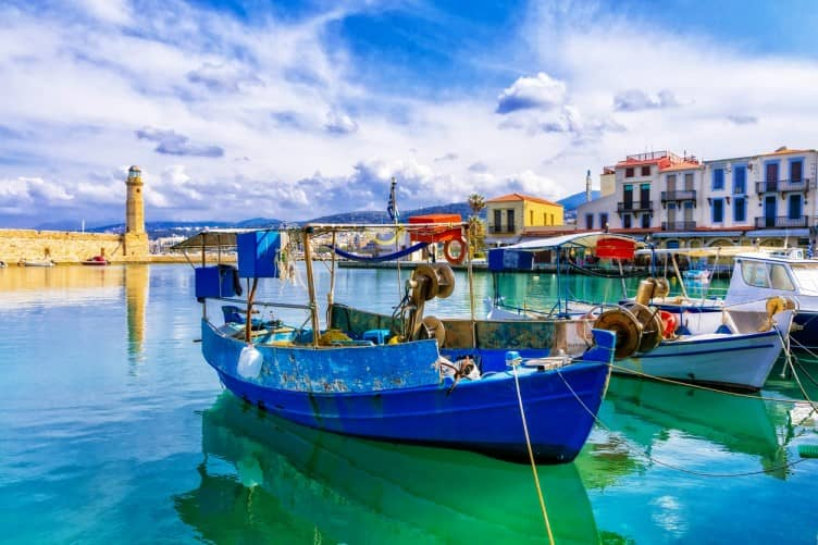 Boat in harbour in Rethmnon Crete