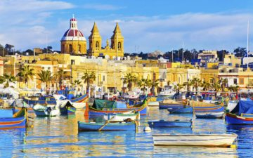Boats in the harbour in Malta