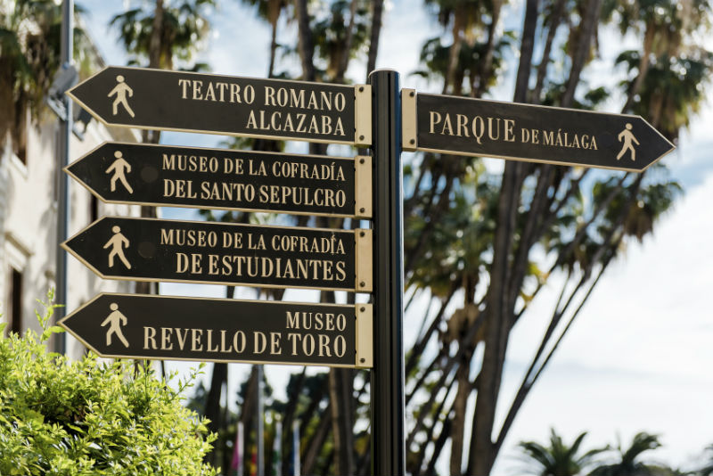 Malaga museum signs
