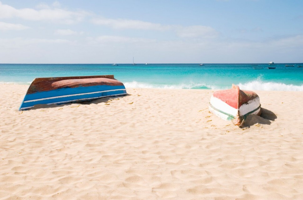 Upturned boats on Cape Verde beach