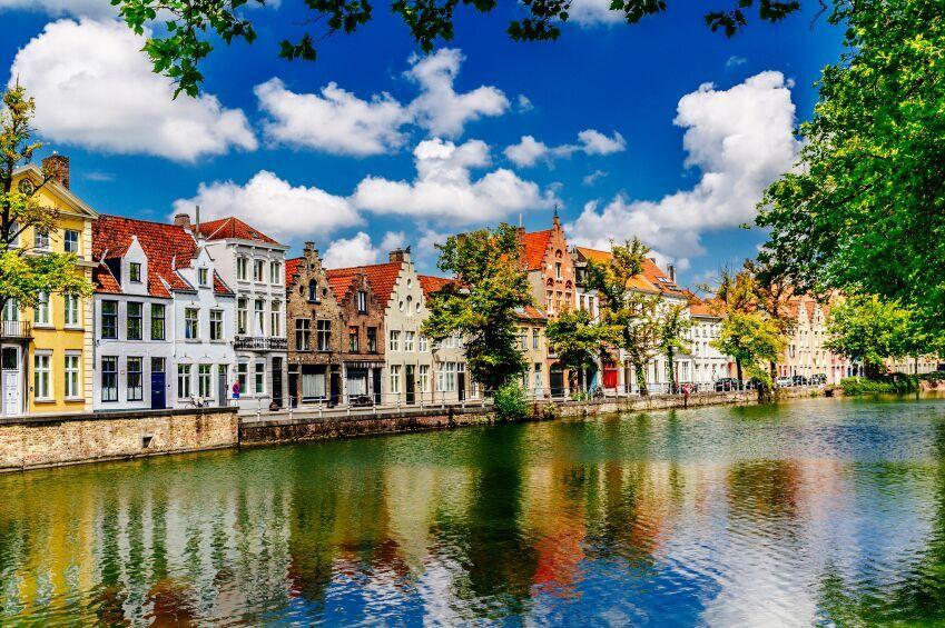 Houses on river, Bruges, Belgium