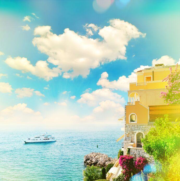 A beautiful dreamy image of a cruise ship on the blue sea
