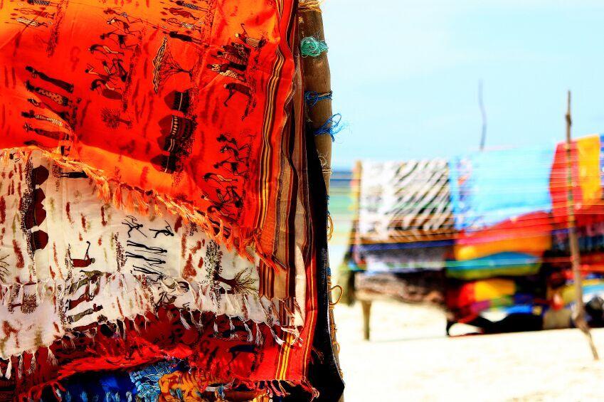 Colorful scarfs on beach, Mombasa