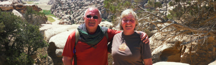 Roger and Catherine Willis trekking to Petra