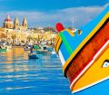 Close up of Colourful Boat in Malta