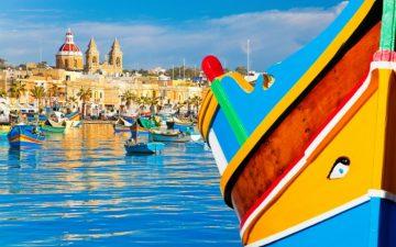 Close up of Colourful Boat in Malta