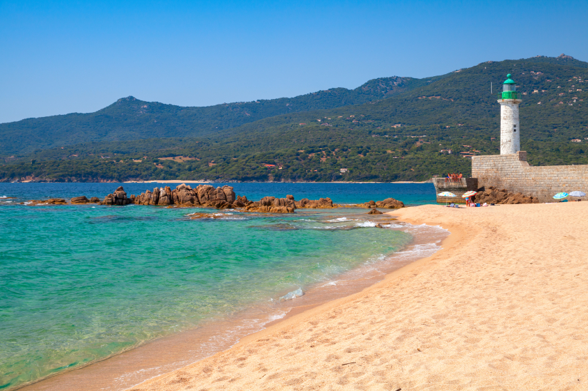 Corsica Beach with Lighthouse