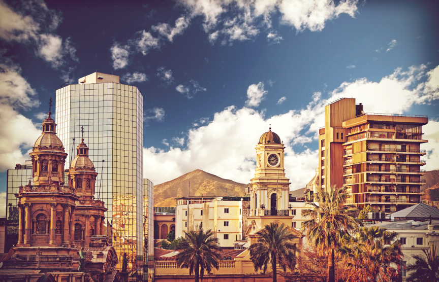 Vintage style picture of Santiago de Chile downtown, Chile.
