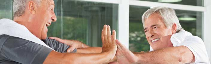 Two men in a fitness class