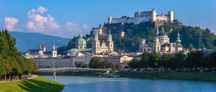 A view of Hohensalzburg Castle in Salzburg. Austria