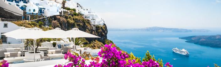 A restaurant on a cliffside on Santorini Island, Greece