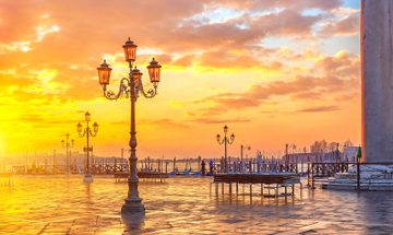 Beautiful orange and yellow sunset over Venice