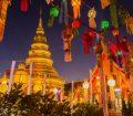 Golden pagoda and lanterns in Bangkok, Thailand