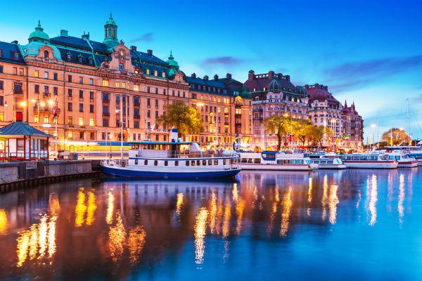 Riverside views in Stockholm, Sweden