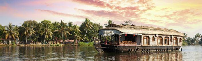 Houseboat on kerala badwaters, kerala, india