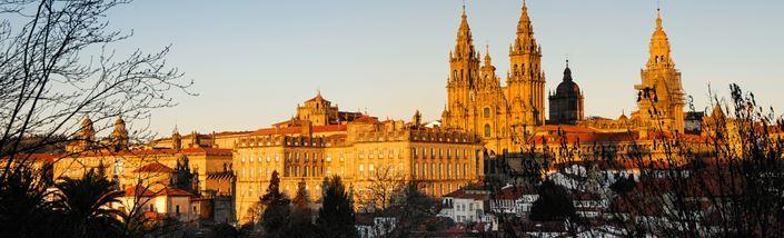 Santiago de Compostela Cathedral, bathed in sunlight