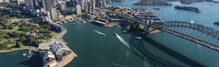 An aerial view of Sydney Harbour Bridge