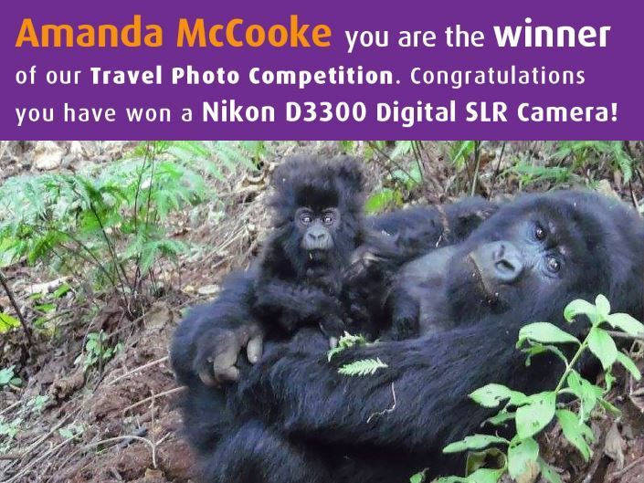 October facebook competition winner - a banner showing Amanda McCooke's name with two gorillas