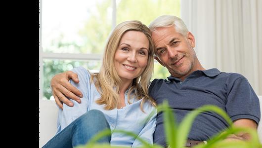 Senior couple on sofa