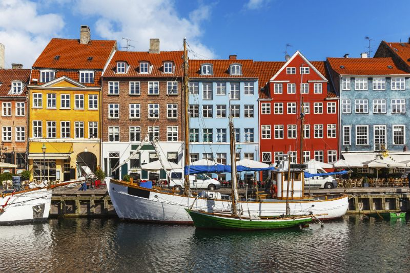 The colourful buildings on the river in Nyhavn Copenhagen