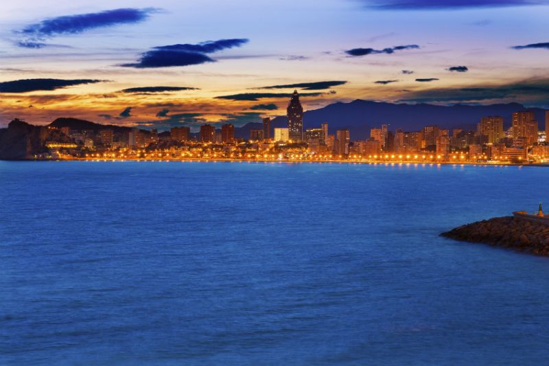 Playa de Poniente in Benidorm at sunset