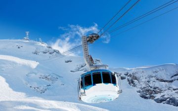 Cable car on the ski slopes