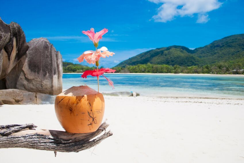 Cocktails on a beach in the Seychelles