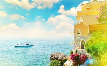 Cruise ship with Mediterranean view