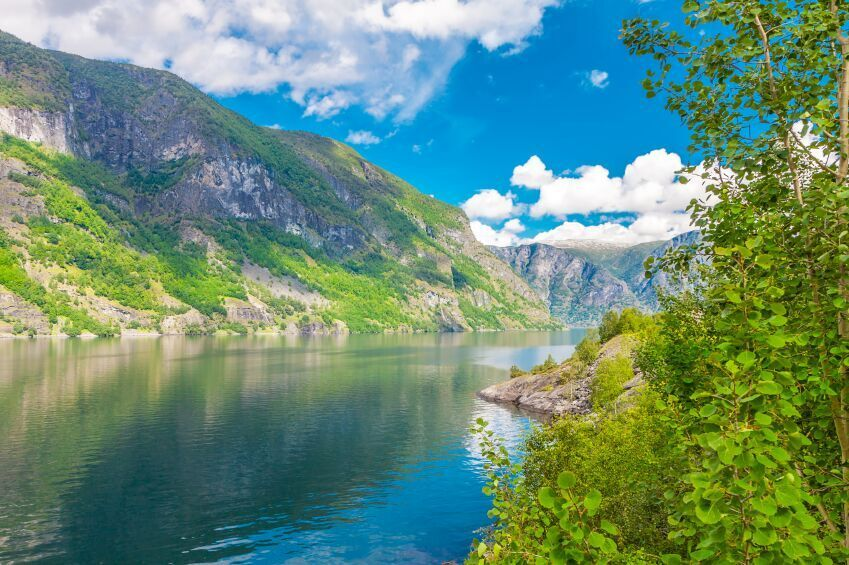 View to Aurlandsfjord along river in Sogneford, Norway