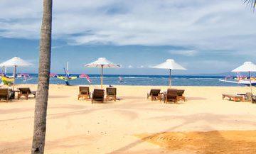 Sun loungers on a beach