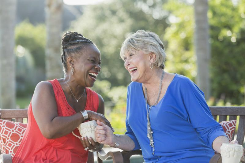 Senior women enjoying a laugh