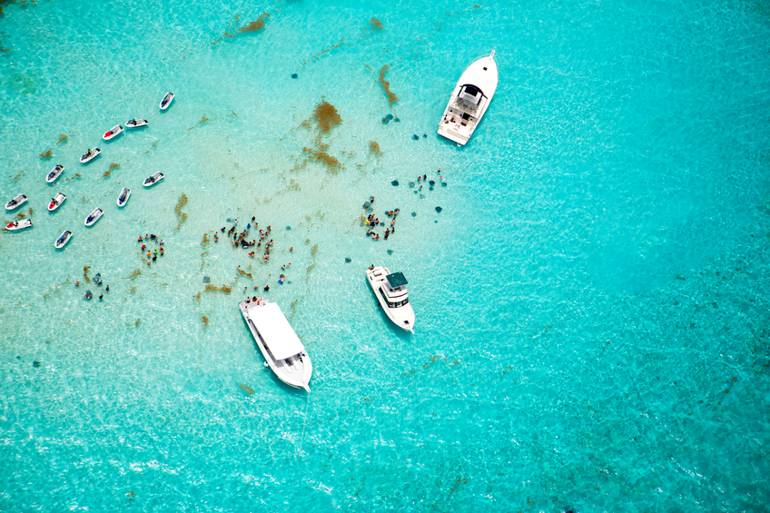 Aerial view of stingrays at Stingray City on Grand Cayman