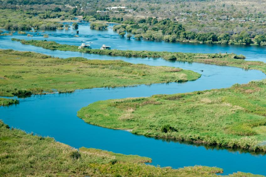 Beautiful aerial view of Chobe River